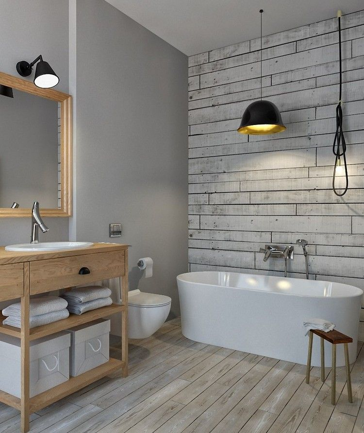 Badezimmer Ohne Fliesen Graue Wandfarbe Tapete Holzoptik Holz Badmoebel
