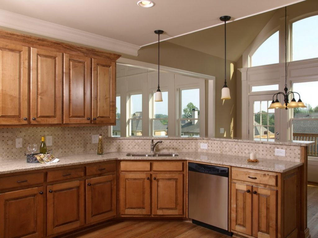 Kitchen Color Schemes With Light Maple Cabinets Home ... on Modern Kitchen Backsplash With Maple Cabinets  id=46471