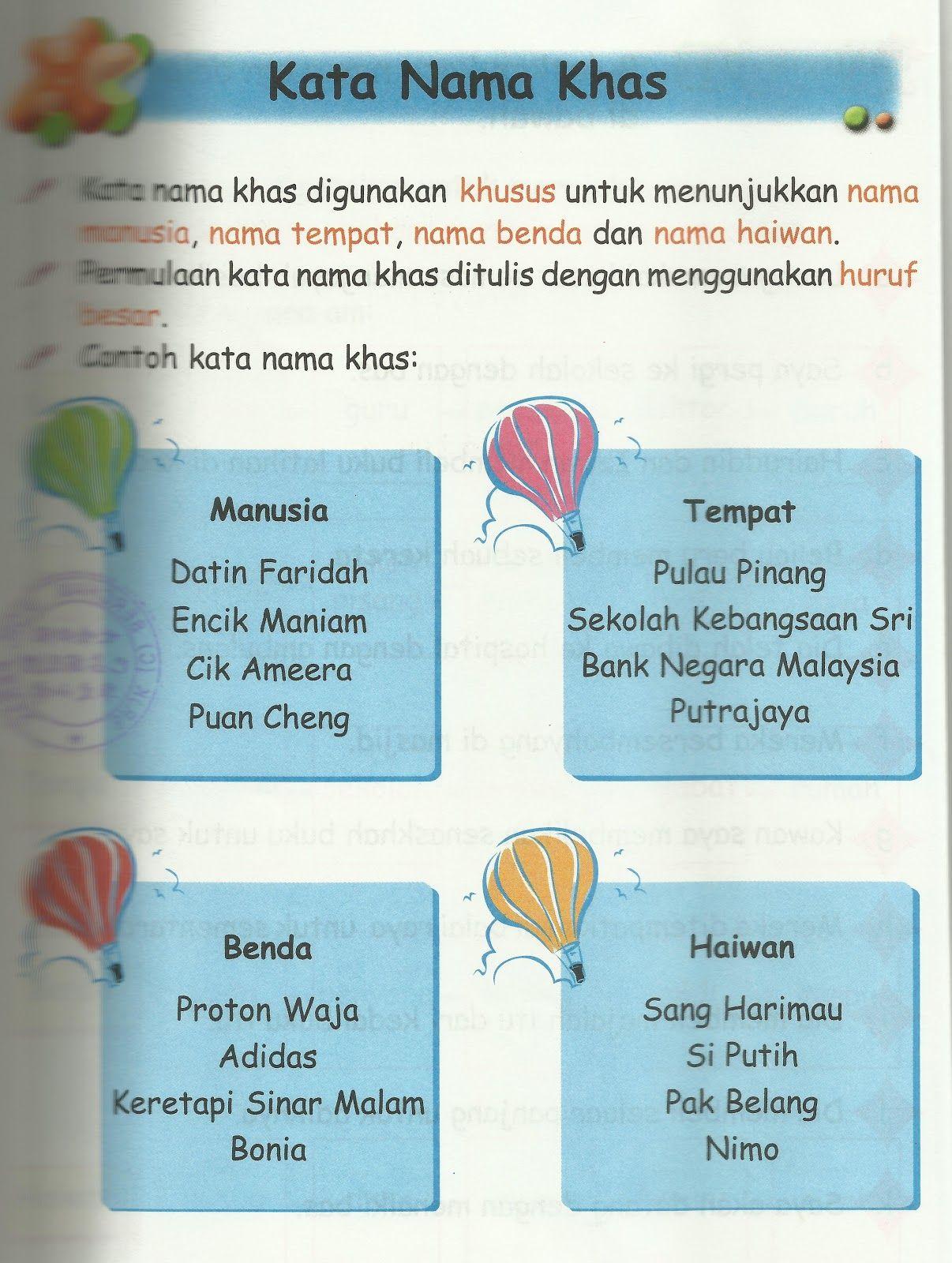 Kata Nama Digunakan Untuk Menyebut Nama Orang Banda Tempat Dan Binatang Kata Nama Terbahagi Kepada A Kata Classroom Activities Malay Language Language