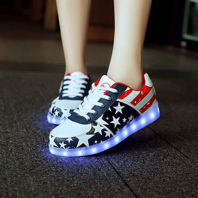 8 Colors LED Shoes For Adults Men Women Shoes Casual USB Rechargeable Luminous Light Shoes Black White