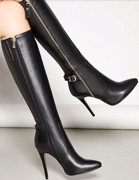 Knee High Boots Black High Heel Pointed Toe Zipper Party Boots For Women b65d285d9