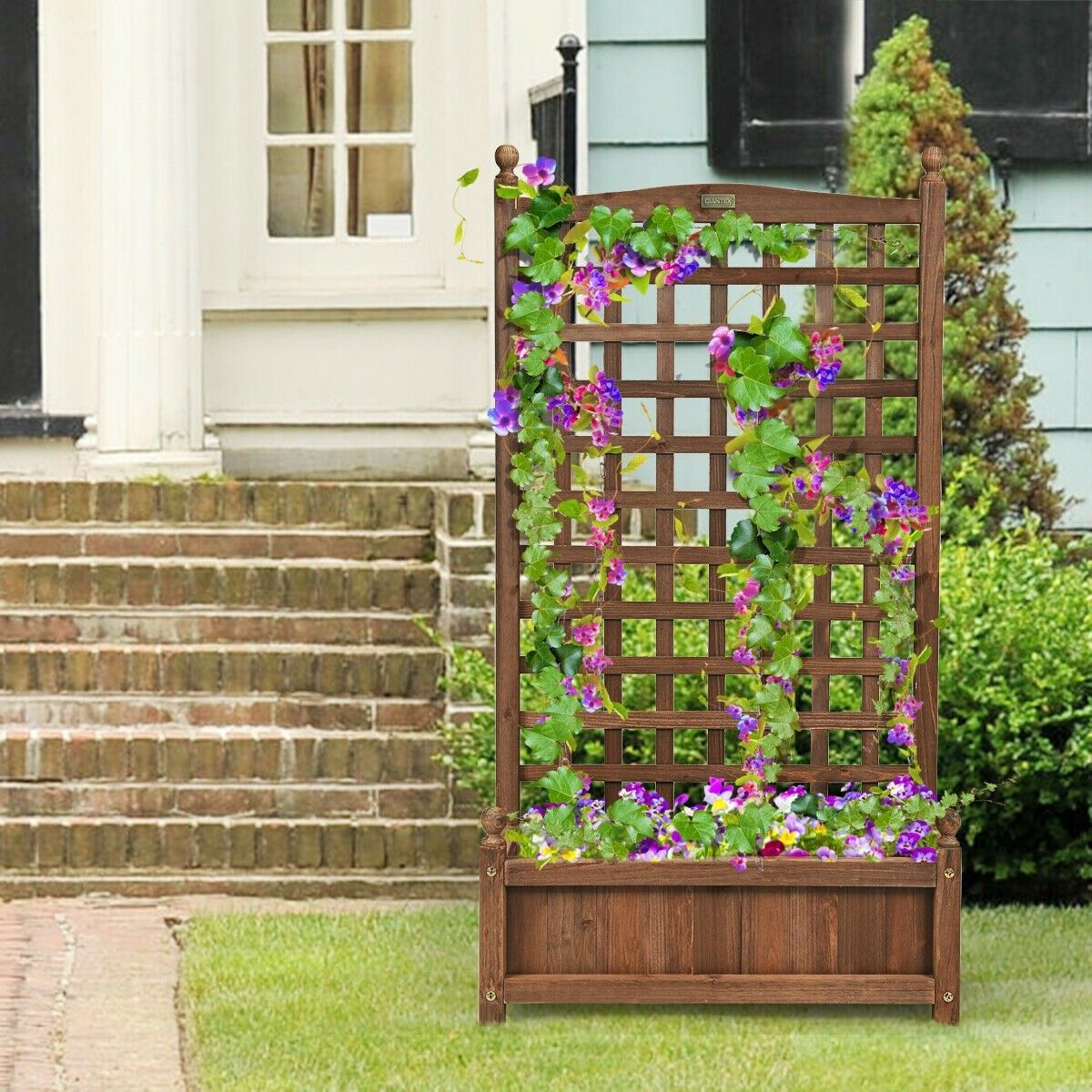 Solid Wood Planter Box With Trellis Weather Resistant Outdoor Planter Box With Trellis Wood Planters Wood Planter Box