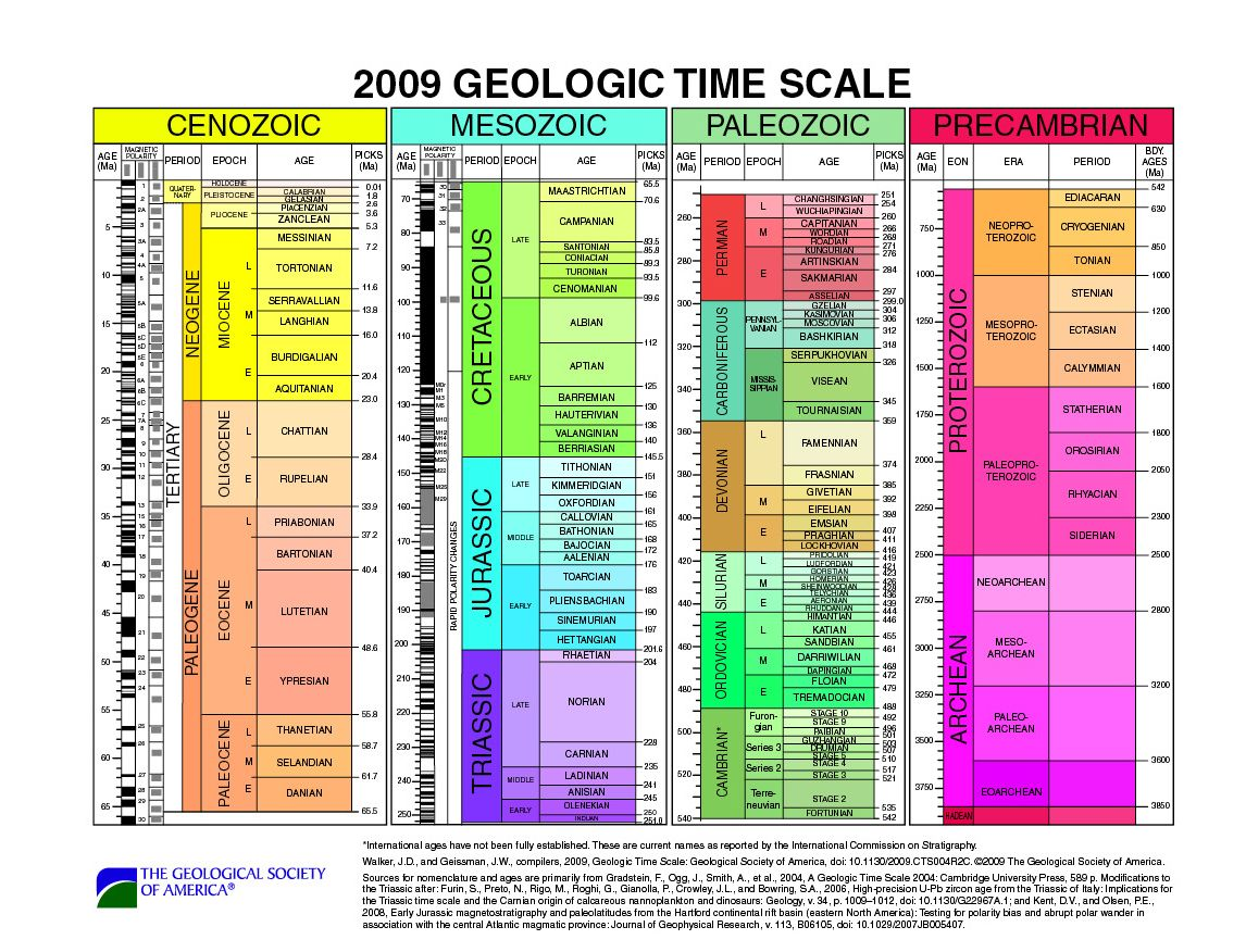 A geologic timescale that lists eras, periods, epochs, AND ages ...