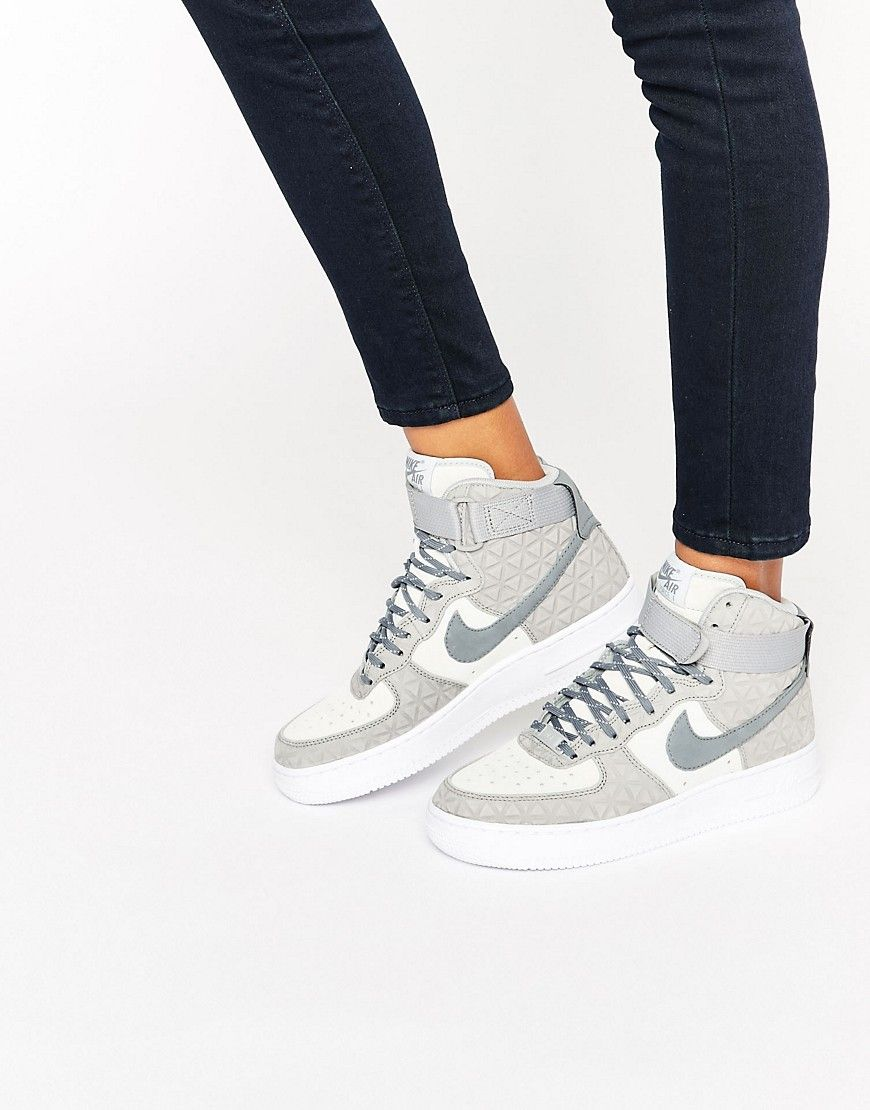 Nike Air Force 1 Hi Trainers In Grey Suede | Zapatillas