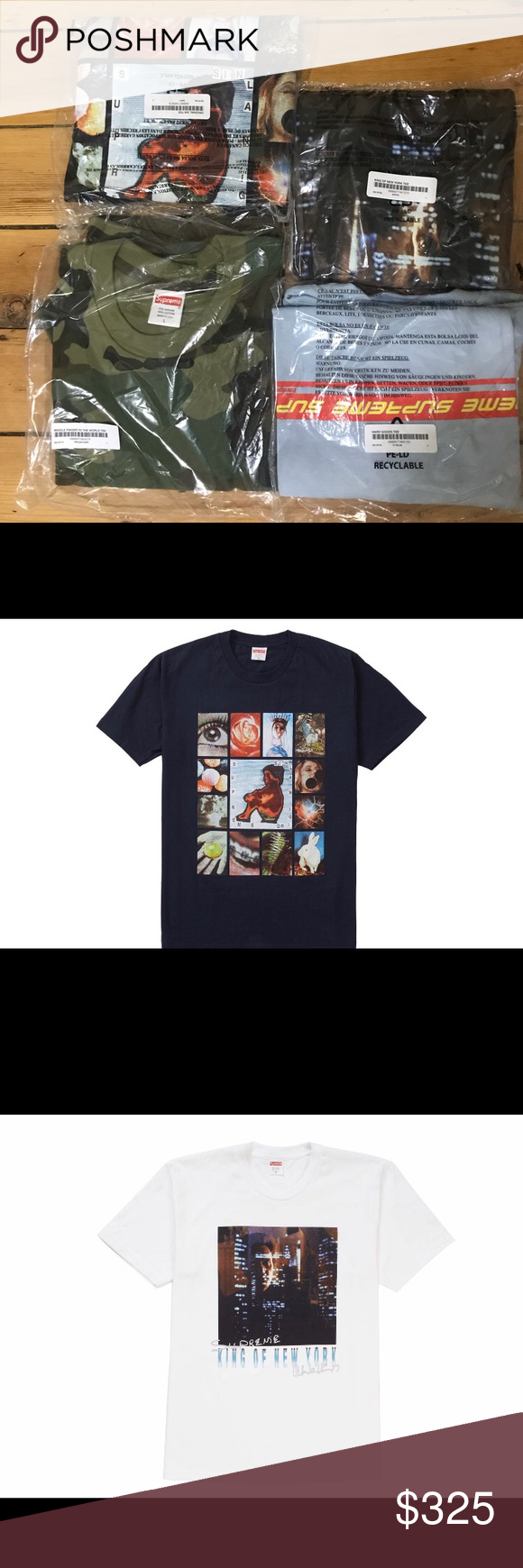 8630517fcf58 SUPREME t-shirt package deal SS19 T-shirts All Size L Middle Finger to the  World (camo) Hard Goods (light blue) Original Sin (navy) King of New York  (white) ...