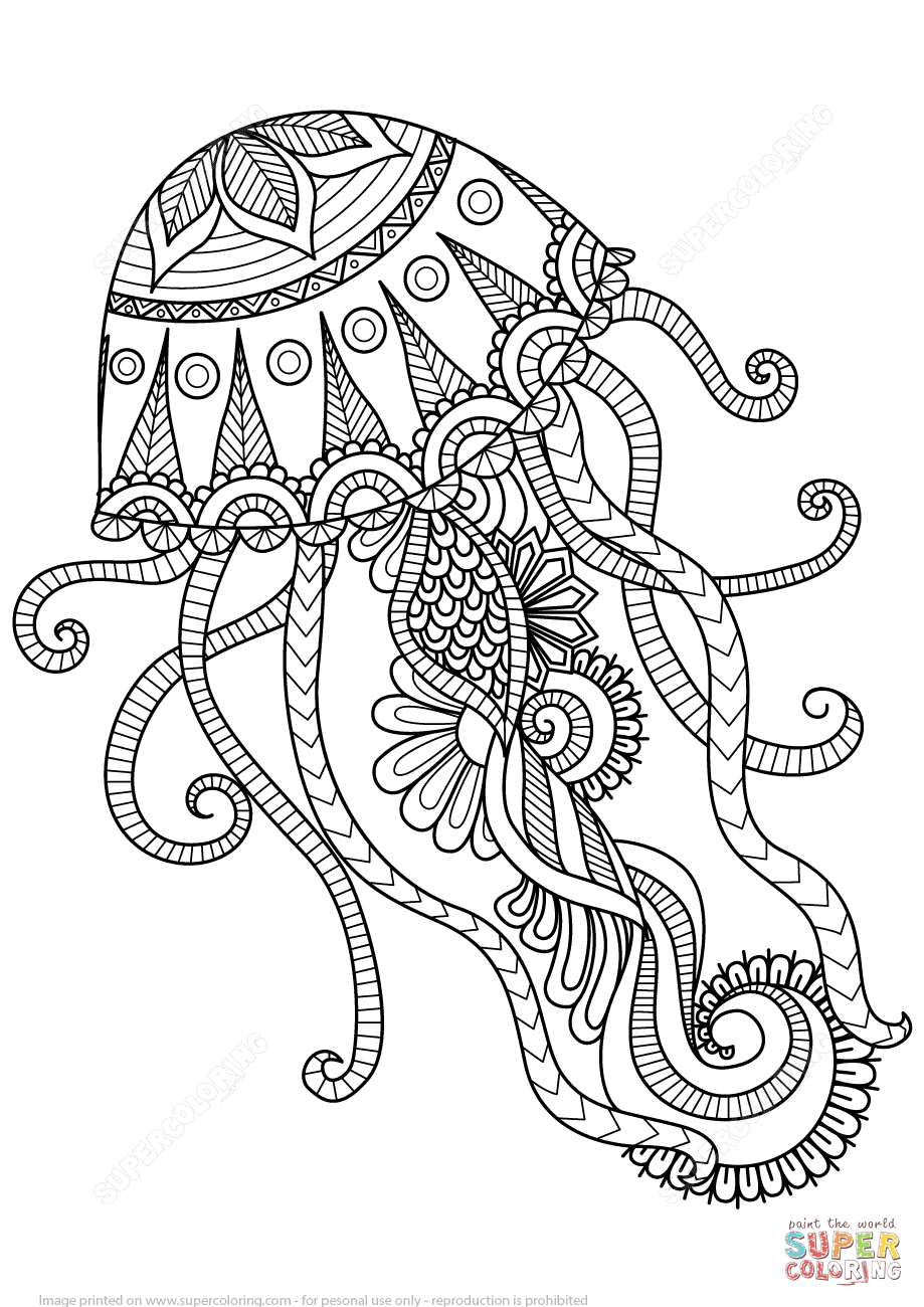 Jellyfish Animal Coloring Pages. Jellyfish Zentangle coloring page from category  Select 26355 printable crafts of cartoons nature animals Bible and many more Free Printable Coloring Pages