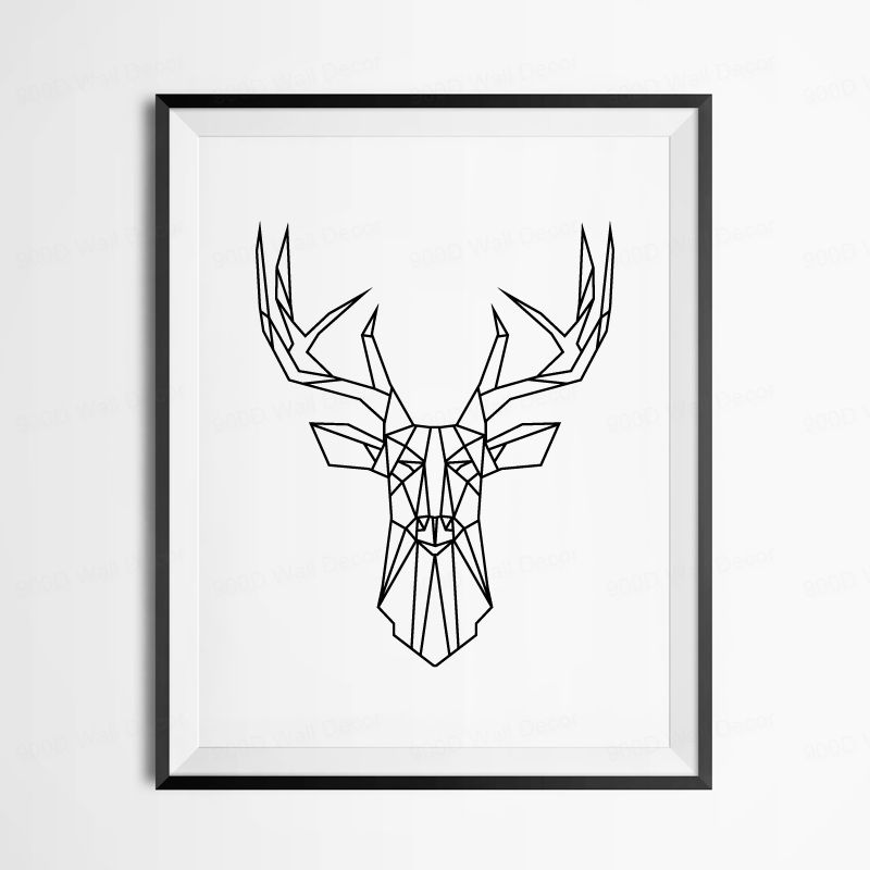 Geometric Deer Head Canvas Art Print Poster, Wall Pictures ...