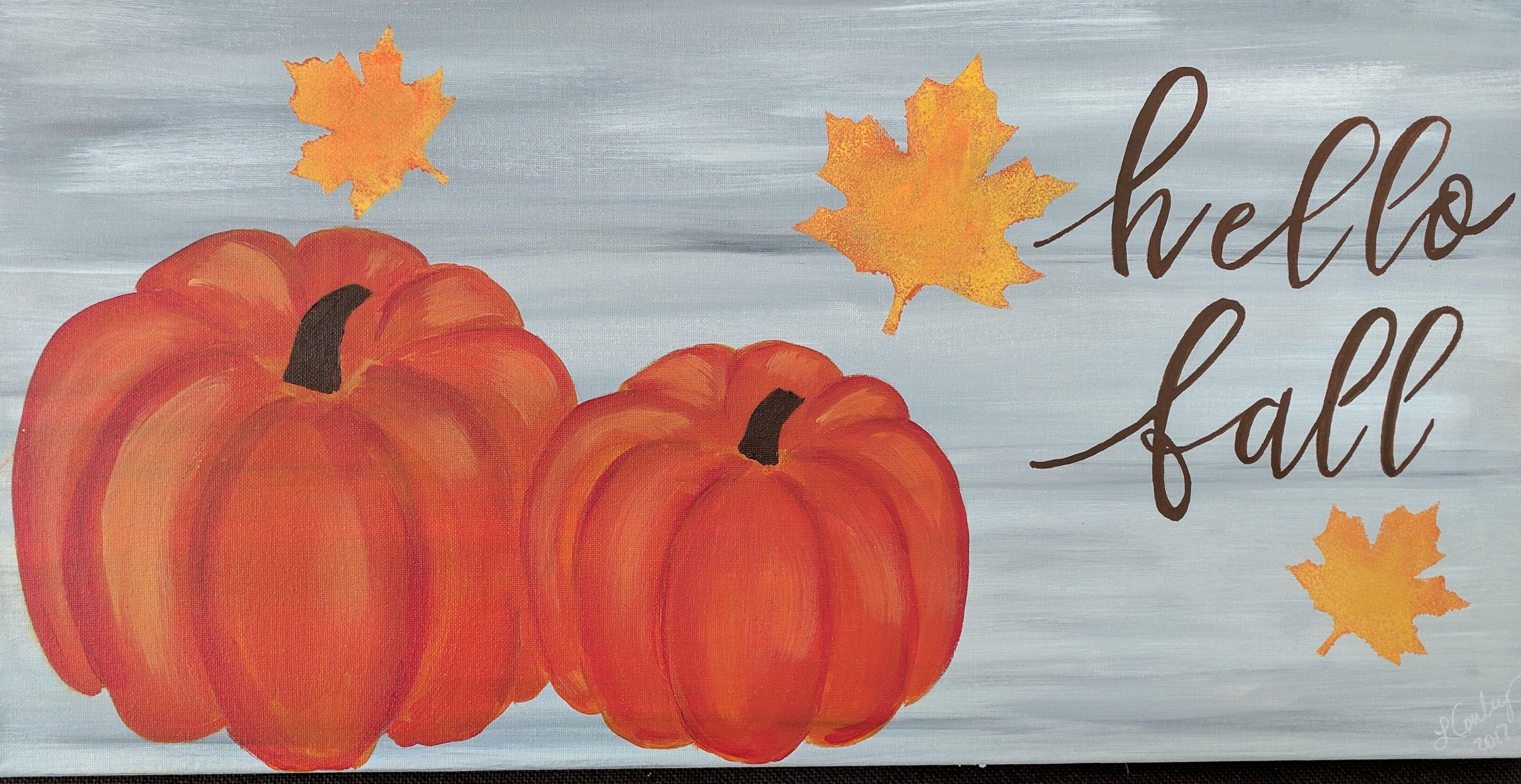 hello fall 12x24 canvas paintedcanvasfun com the painted canvas