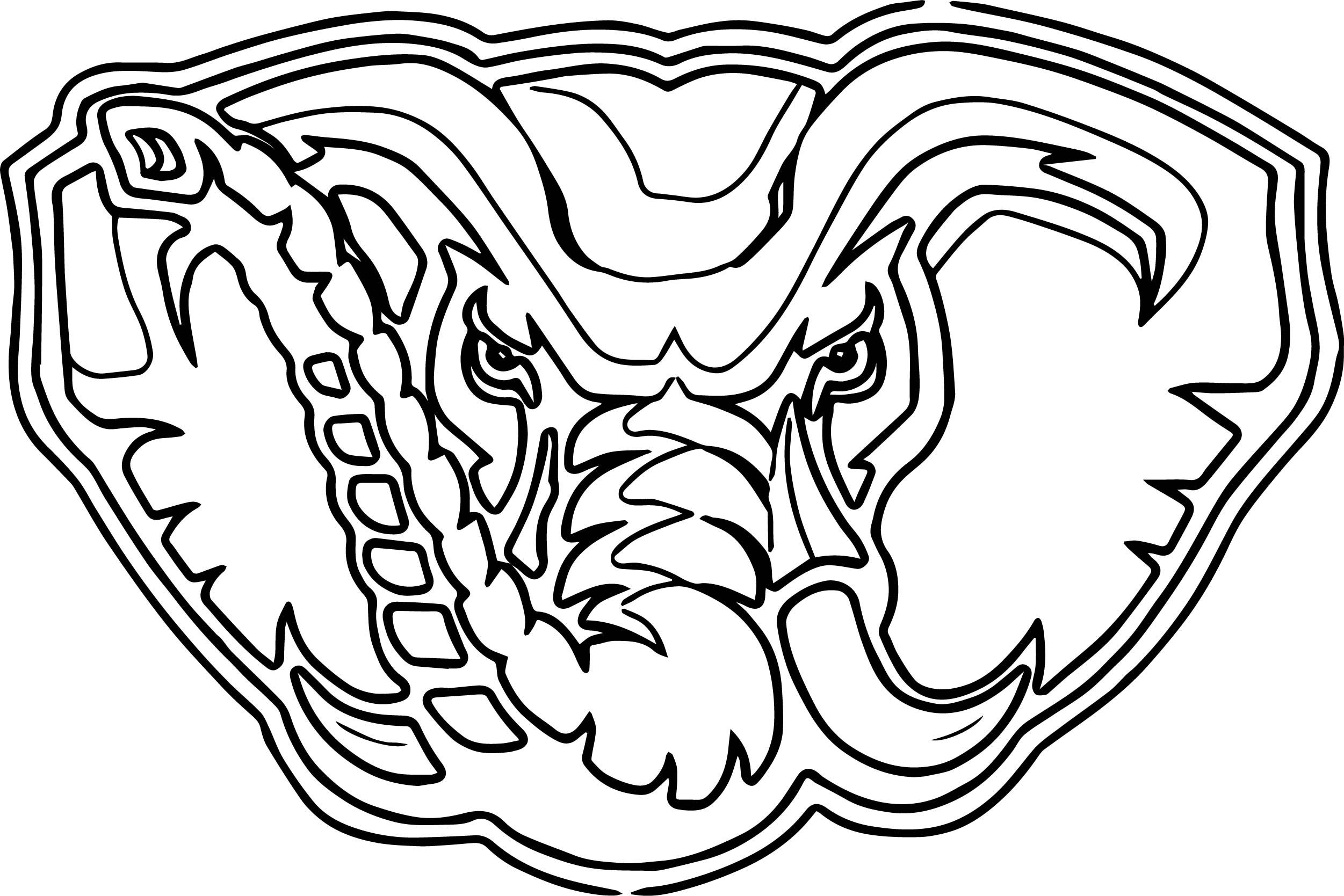 Cool Alabama Elephant Face Outline Coloring Page Elephant Face Face Outline Alabama Elephant