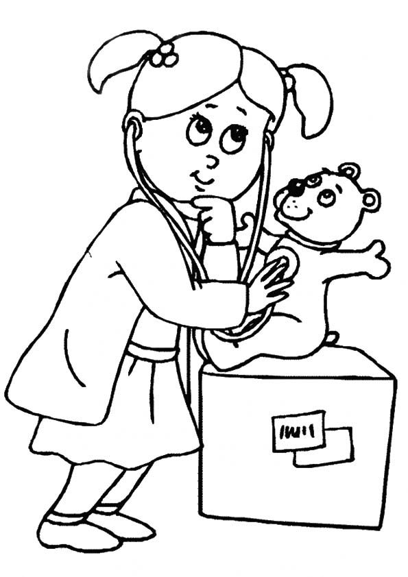 Doctor coloring pages for kids and elementary school