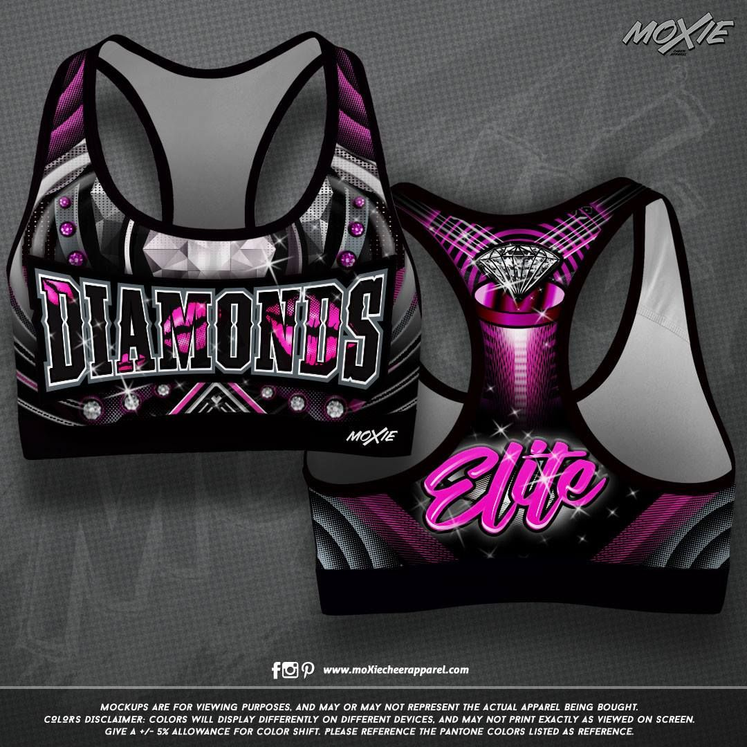 NEW custom sublimated cheer sports bra for The Diamonds