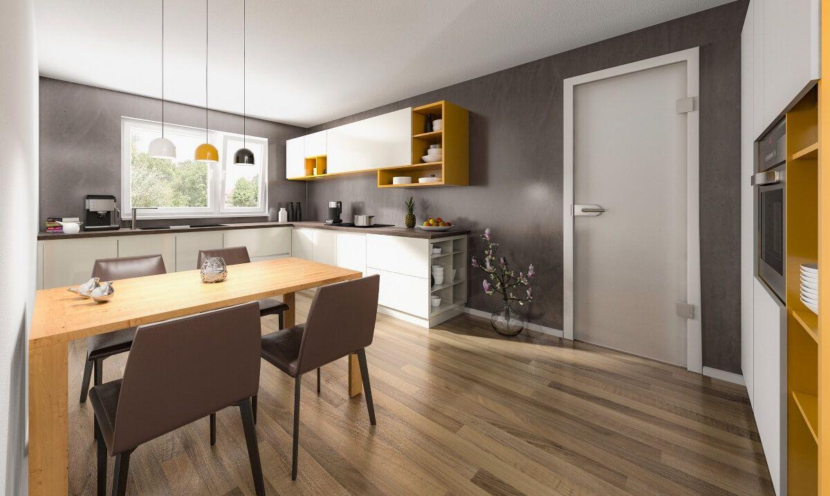 Moderne Küche mit Esstisch aus Holz & Wandgestaltung Farbe