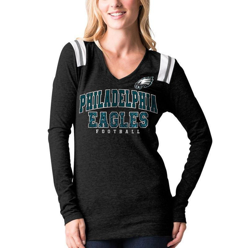 Philadelphia Eagles 5th   Ocean by New Era Women s Tri-Blend Long Sleeve  V-Neck T-Shirt - Black b6a58e9f6