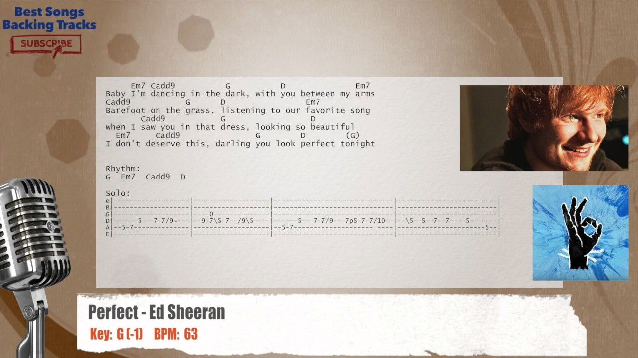Perfect Ed Sheeran Vocal Backing Track With Chords And Lyrics