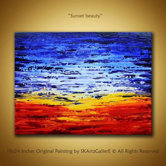 Colorful Abstract Painting Sunset Canvas Art Blue Orange Abstract Large  18x24 Textured Wall Art Modern Office Decor Home Sunset Painting