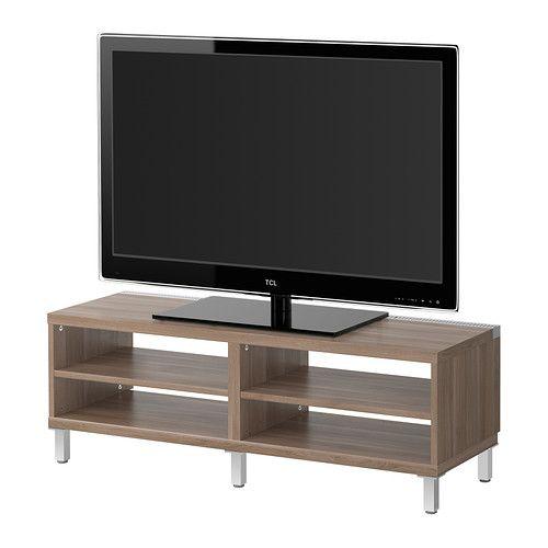 BESTÅ Móvel TV IKEA Com sistema de gestão de cabos; mantém os cabos ocultos, mas acessíveis.