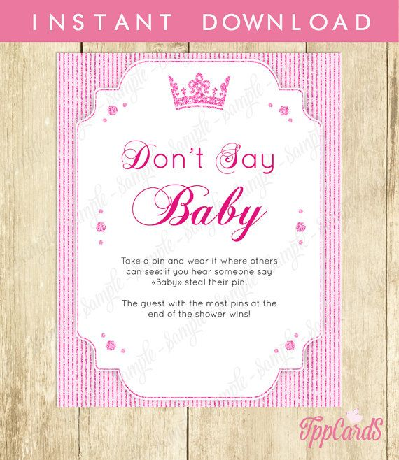 Baby Shower Clothes Pin Game Mesmerizing Don't Say Baby Game Baby Shower Games Printable Princess Baby Inspiration