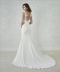 Low Back Wedding Dress By Pronovias White One Collection Available From Www Thebridal Lounge Co Wedding Dresses Elegant Bridal Gown Stunning Wedding Dresses