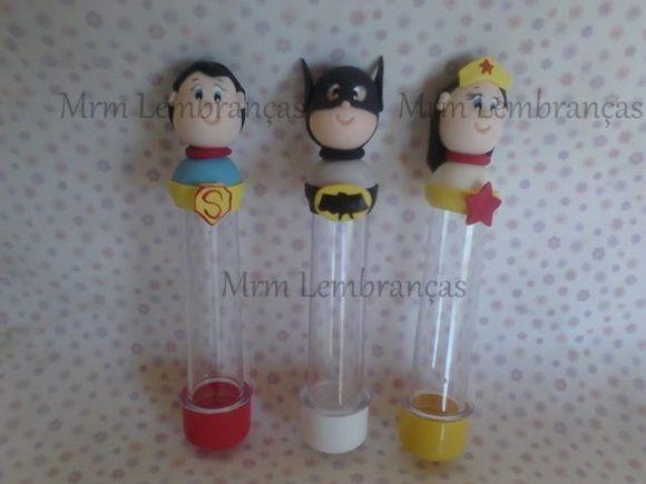 TUBETE TEMA SUPER HEROIS.. fazemos varios temas  altura total da peça com biscuit 15 cm R$ 4,50