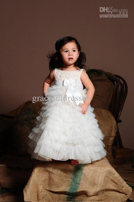 Wholesale Flower Girl Dress - Buy Jewel A-line Organza Tulle Tiered Cute Custom Lovely 2012 Kids Gown Designs Ball Gown for Children Pageant Flower Girl Dress Patterns F183, $80.23 | DHgate