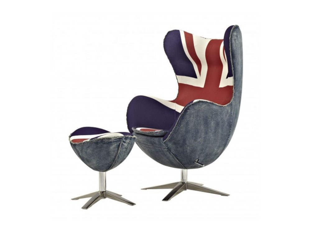 Awe Inspiring Union Jack Egg Chair Footstool With Free Delivery Union Andrewgaddart Wooden Chair Designs For Living Room Andrewgaddartcom