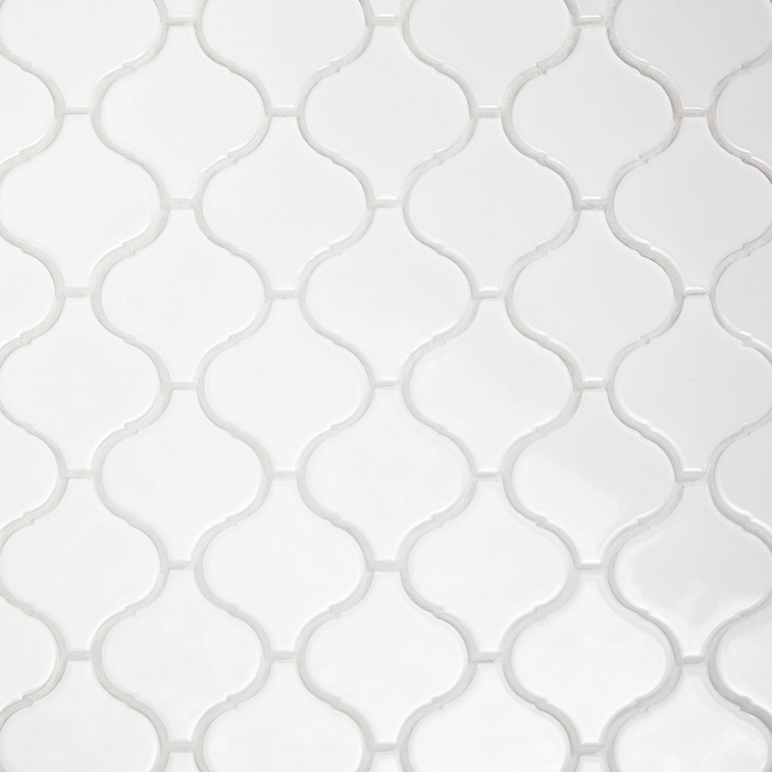 Arabesque Lantern White Porcelain Mosaic Porcelain Mosaic