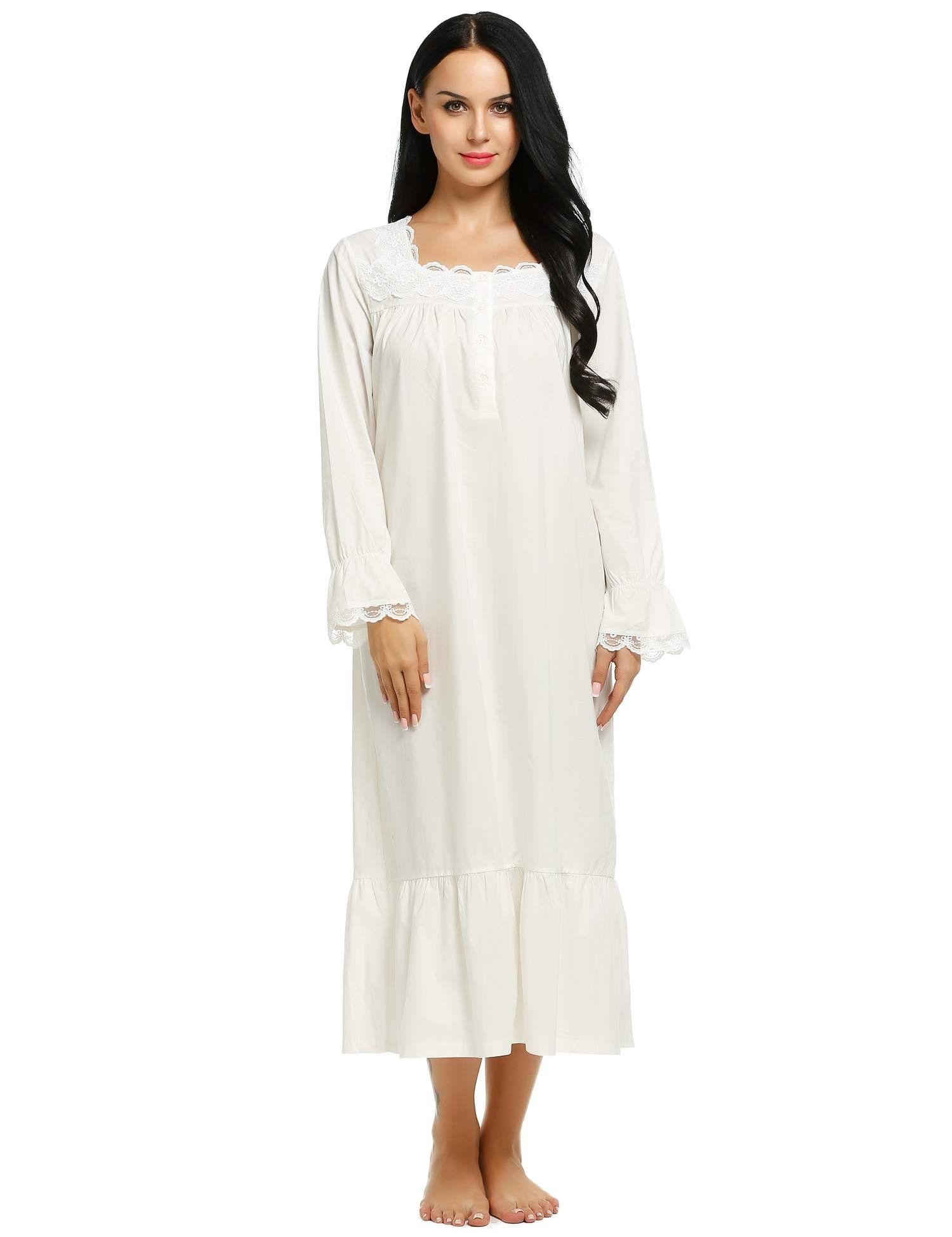 Ekouaer Plus Size Lingerie Sleep Dress Womens Comfort Nightwear Gowns  (White 180916316
