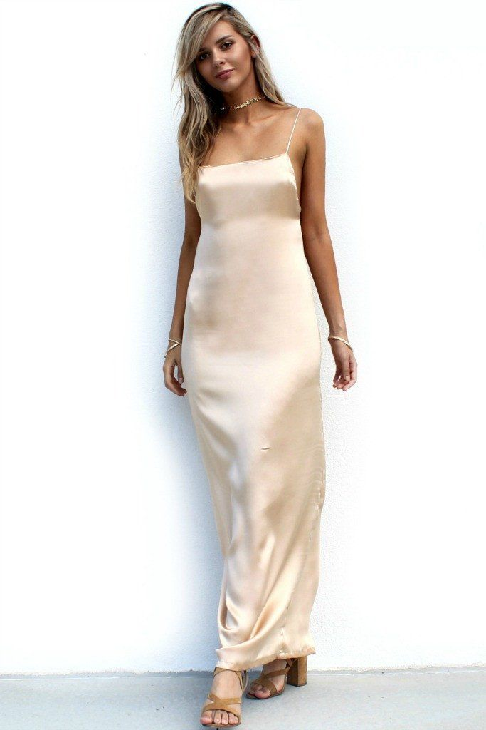 SATIN SILK CHAMPAGNE - BACKLESS SLIP GOWN | Buy | Pinterest ...