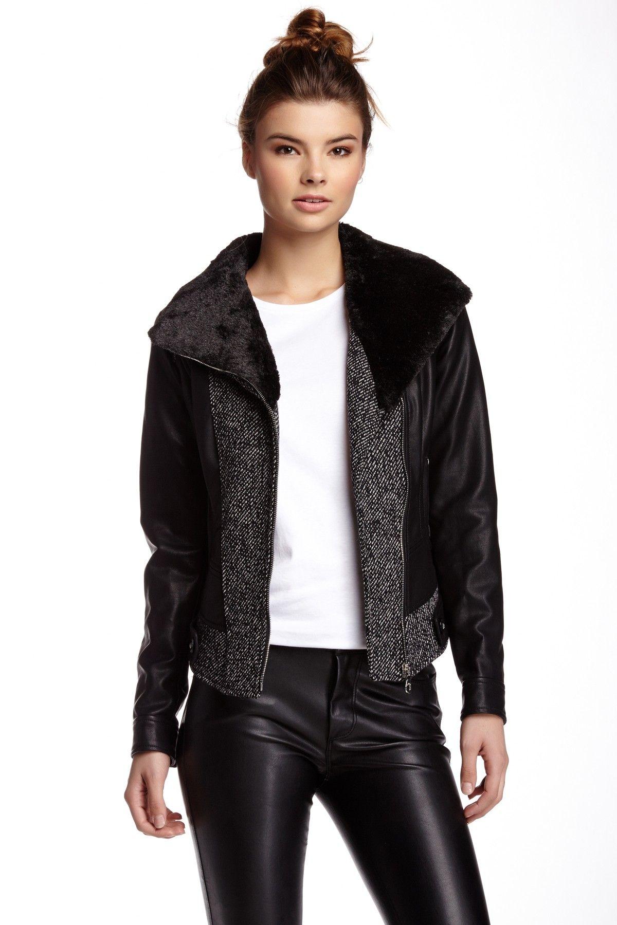 GUESS Moto Faux Fur Collar Faux Leather Moto Jacket