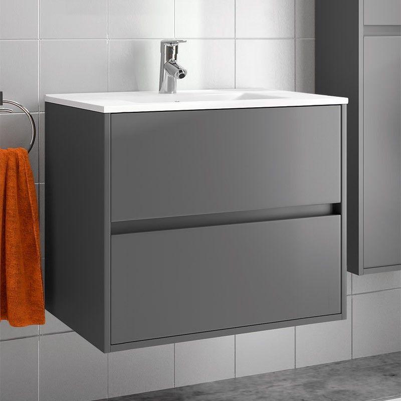 meuble salle de bain cm tiroirs plan vasque porcelaine gris mat with meuble salle de bain 40 cm. Black Bedroom Furniture Sets. Home Design Ideas