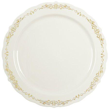 heritage bone gold plastic china dinner plates gone - China Dinner Plates