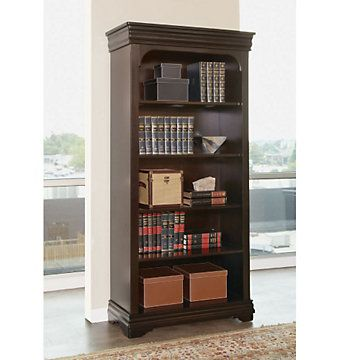 Beaumont wood veneer five shelf open bookcase 78 h for Q furniture beaumont