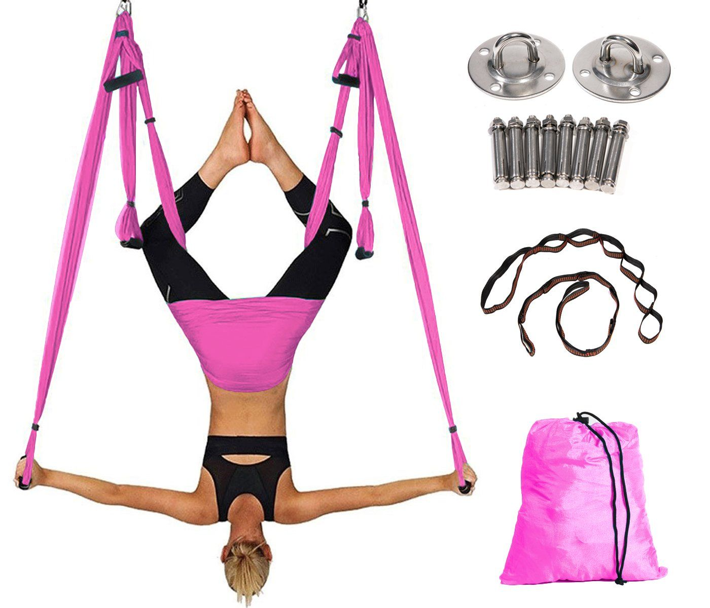 Spring Savings Aerial Yoga Swing For Antigravity And Inversion Exercises With 2 Extension Straps Air Yoga Hanging Swing Pi Aerial Yoga Yoga Swing Yoga Hammock