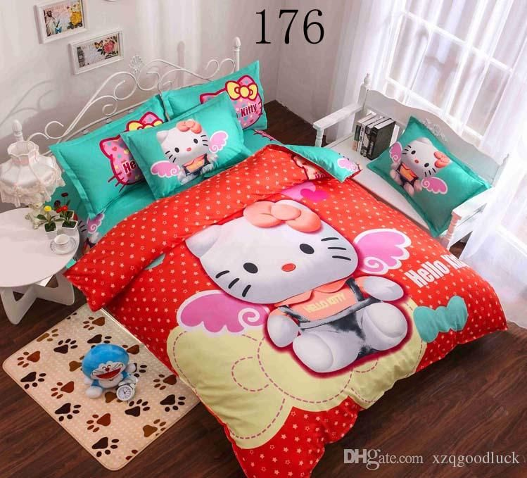 Cartoon 3d Hello Kitty Bedding Set Children Bed Sheets Hello Kitty Duvet  Cover Bed Sheet Pillowcase