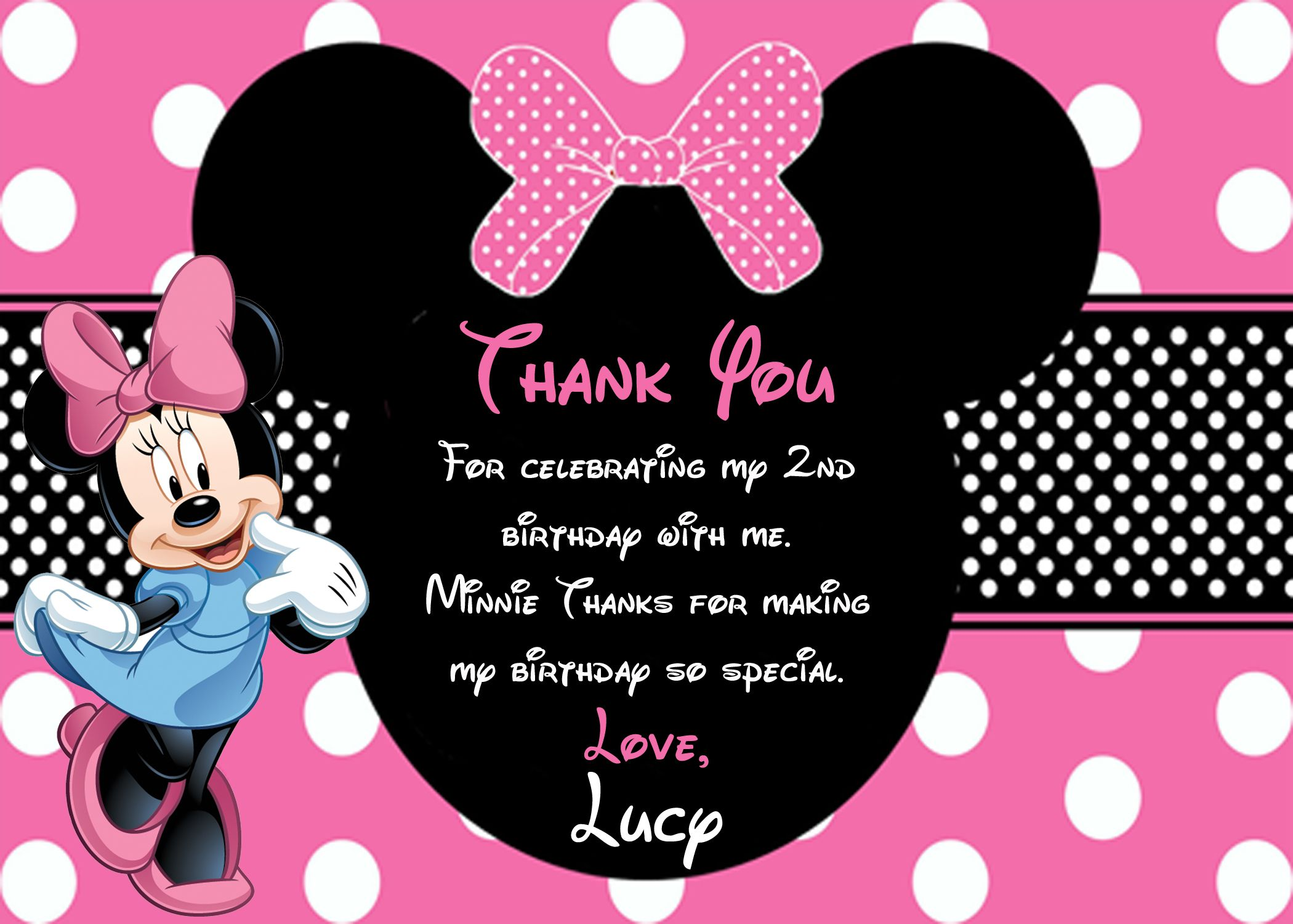 Minnie Mouse Thank You Card Minnie Mouse Party Minnie Mouse