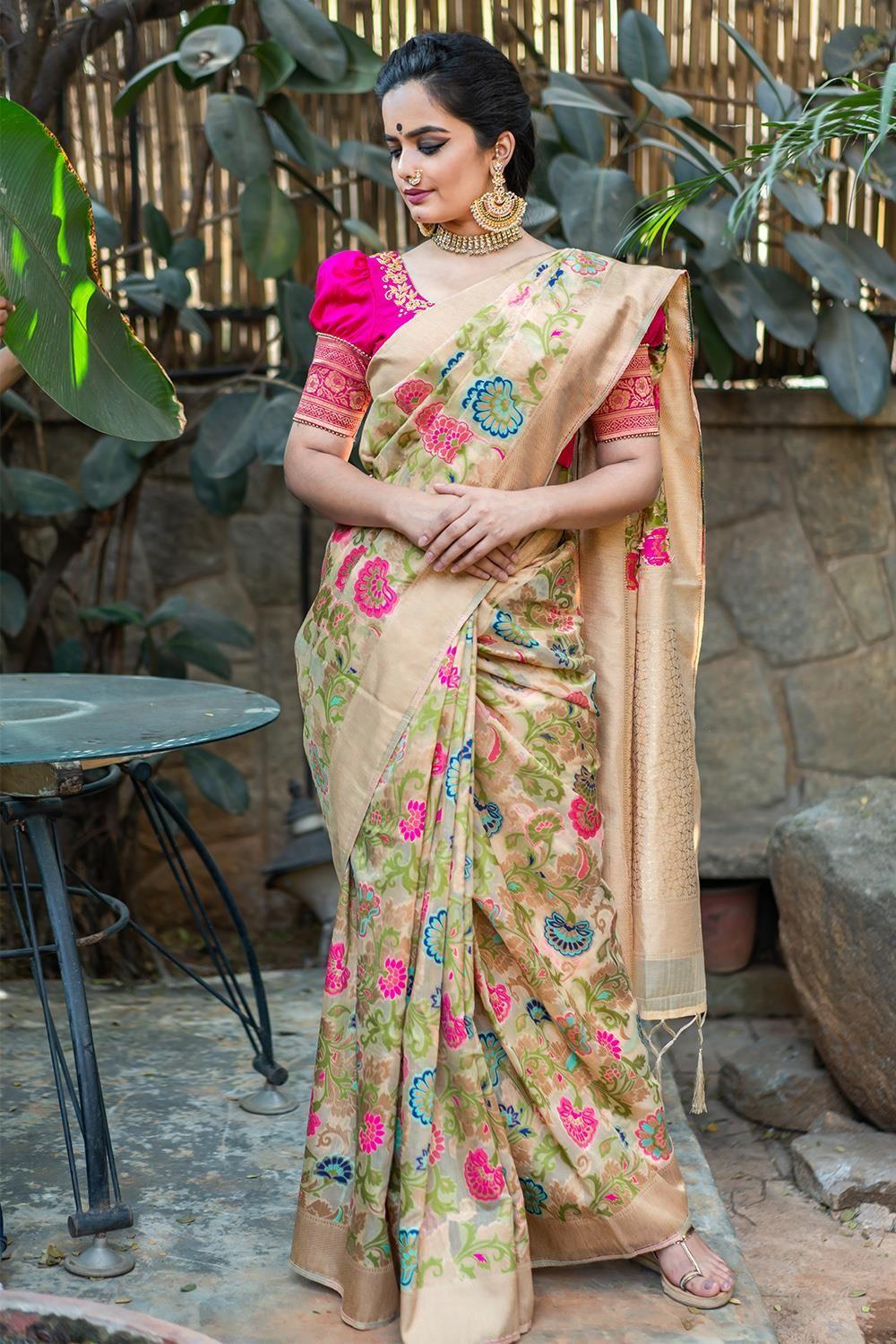 85a87450e90354 Niloufer  saree  blouse  houseofblouse  indian  bollywood  style  designer   cream  floral  pink  blue  green  banaras  tussar  gold  border