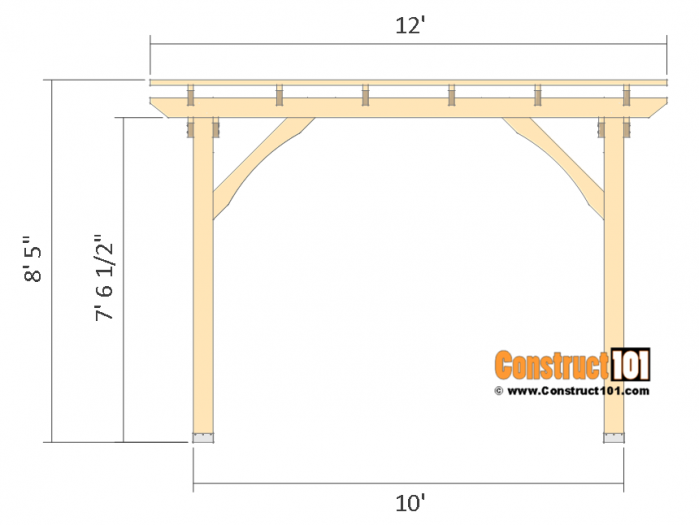 10x10 Pergola Plans Free Pdf Download Construct101 Pergola Plans Pergola Designs Pergola Kits