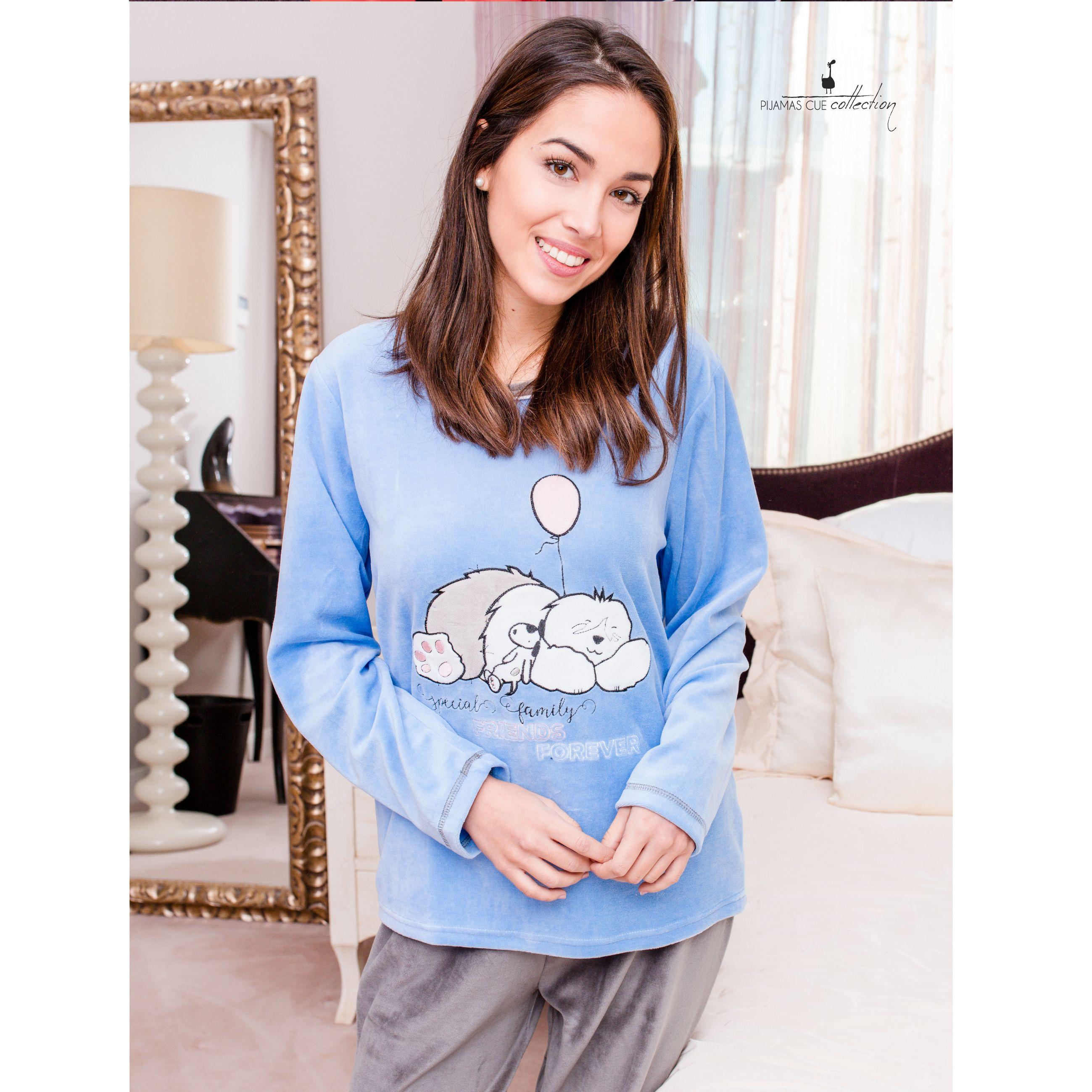1cc82e8c8 pijama bata señora pantalon camiseta largo tundosado polar algodon robe  pajama rabbit homewear sleepwear invierno winter perro dog globo azul rosa