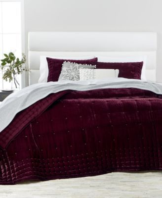 Martha Stewart Collection Tufted Velvet Full/Queen Quilt, Created ...