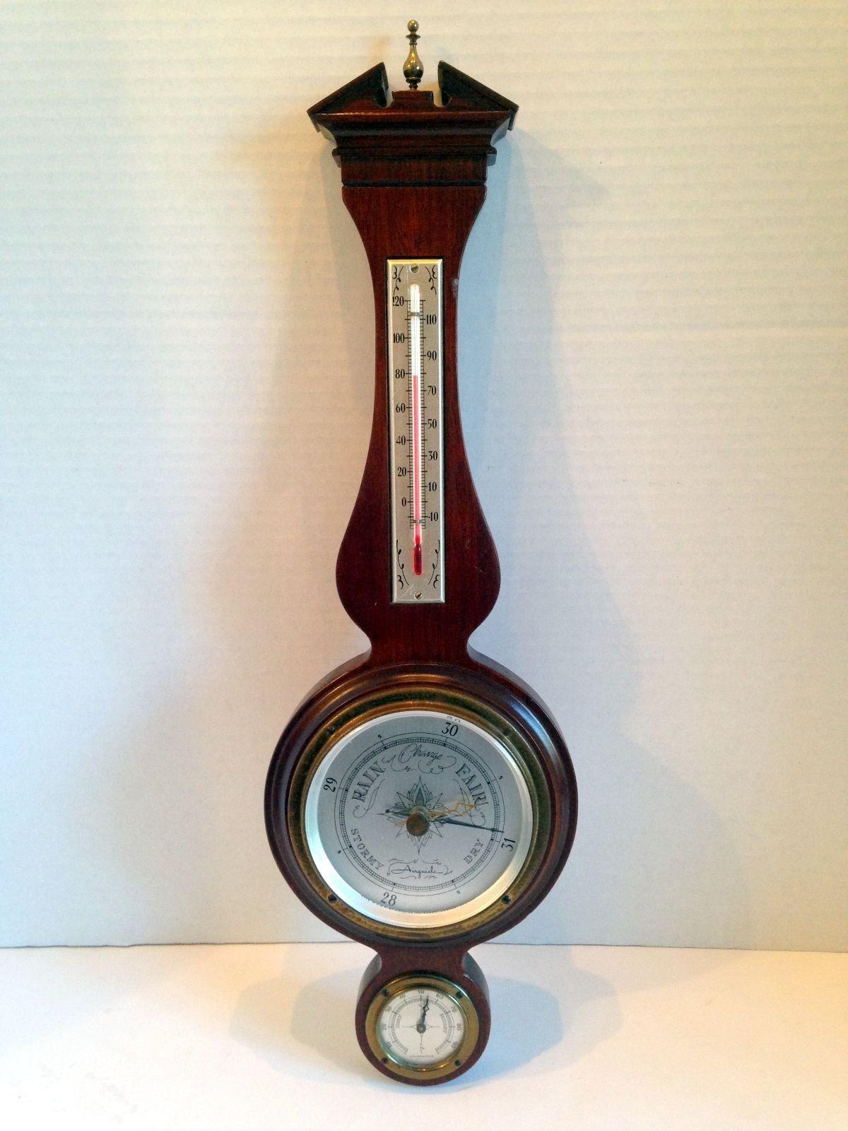 Vintage Midcentury Mahogany Airguide Banjo Wall Barometer
