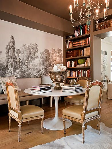Holden & Dupuy: small round table (marble tulip) with banquette and traditional chairs