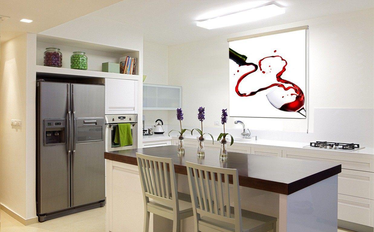 Cortina enrollable en screen con estampado Copa Vino impresión digital