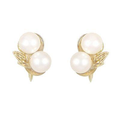 Vintage Mikimoto Pearl Earrings In 14 Karat Yellow Gold Pearl Earrings Double Pearl Earrings Alexandrite Jewelry