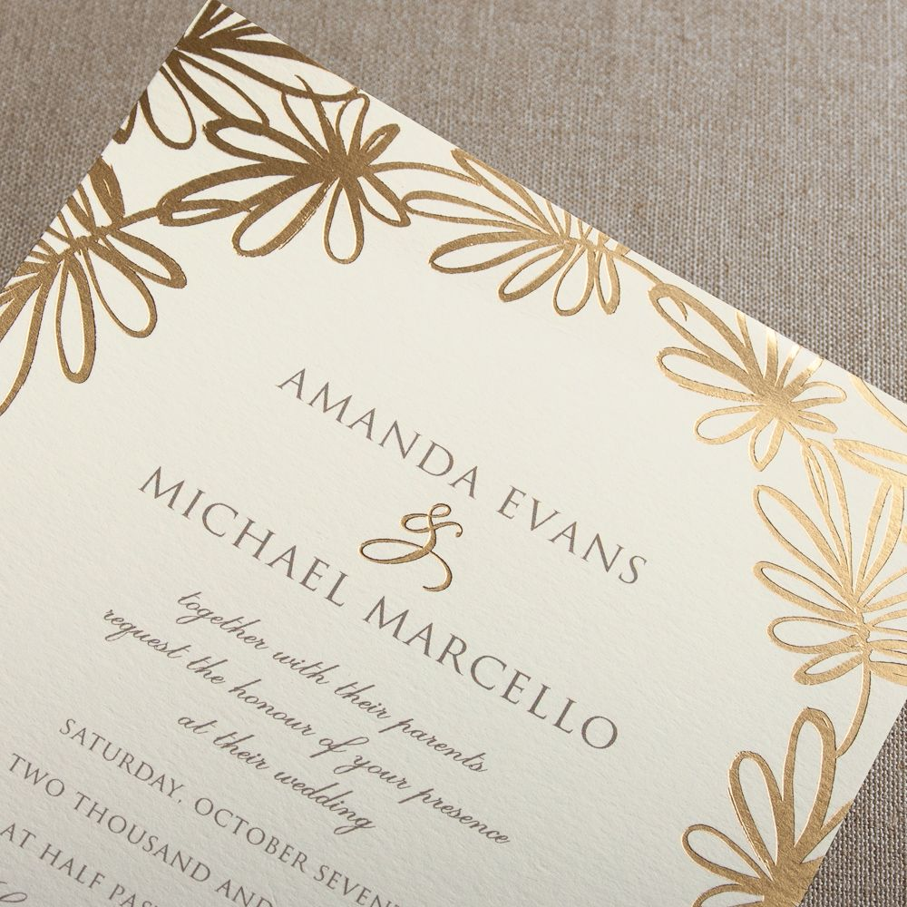 Gold Foil Stamped Garden Whimsy Invitation A Border Of Whimsical