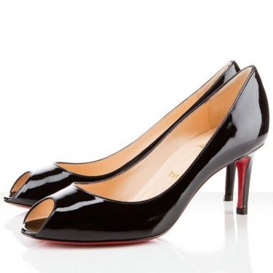 Christian Louboutin You You 70mm Patent Leather Peep Toe Pumps Black