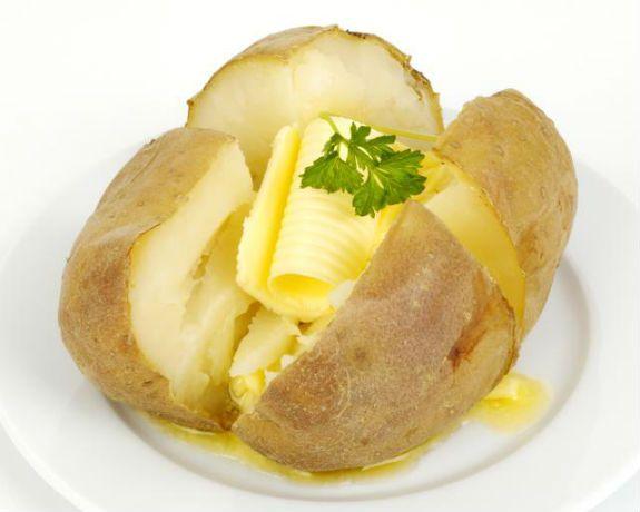 Informação Nutricional - Batata inglesa com manteiga. Porção, calorias, gorduras totais, saturadas, colesterol, sódio, carboidratos, fibra, açúcar, proteína