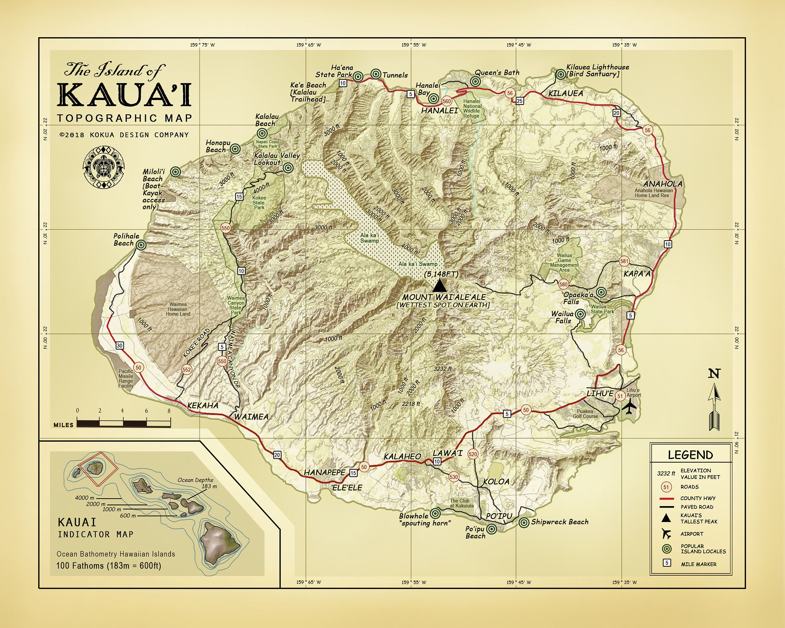 Topographic Map Of Maui.The Island Of Kauai 11 X 14 Vintage Inspired Topographic Map