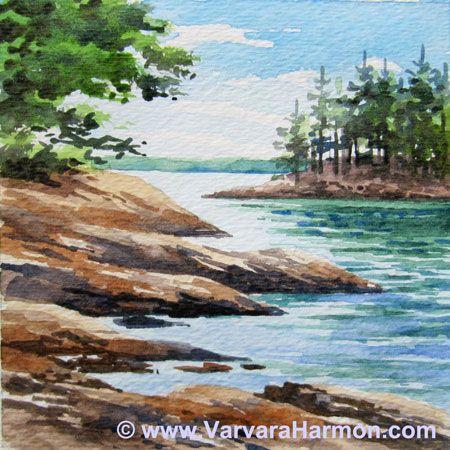 Wolfes Neck Miniature Watercolor Watercolor Landscape Paintings Watercolor Landscape Landscape Paintings