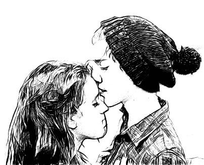 Forehead Kiss Drawing The Couple In This Drawing Look Like Austin