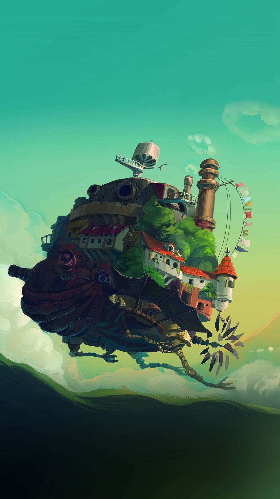 Studio Ghibli Castle Anime Green Peace Art Illustration Iphone 6 Plus Wallpaper Howls Moving Castle Wallpaper Howls Moving Castle Studio Ghibli